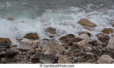 Waves, sea foam