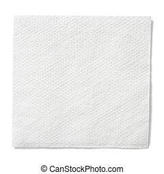 branca, papel, quadrado, guardanapo, isolado, Cortando,...