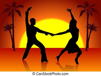 Two Spain Dancers - detailed colored illustration
