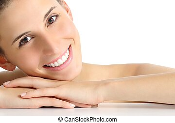 Beauty woman portrait with a perfect white smile isolated on...