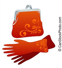 bag and gloves - Stylish red female handbag and gloves on a...