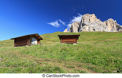 high Fassa Valley - barn beneath Sassolungo mount, Fassa...