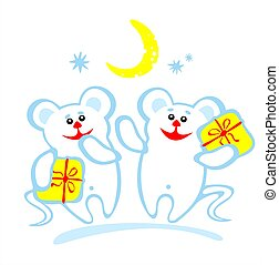 two amusing mice - Stylized Christmas mice and gift boxes on...