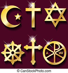 Religious symbols - Illustration gold religious symbols on...