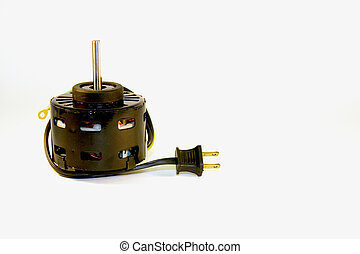 Electric motor - electric motor with plug and shaft over a...