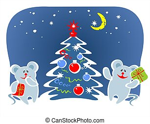 two mice and fur-tree - Two mice hold boxes with gifts...