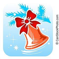 christmas handbell - Christmas handbell and snowflakes hang...