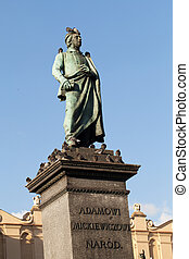 Krakow - the sculpture of Adam Mickiewicz on the main square...