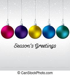Simple, elegant bauble Christmas card in vector format.