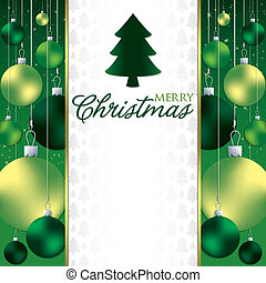 Christmas baubles invitation card in vector format