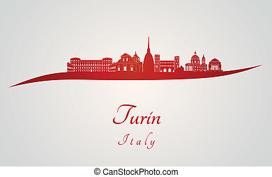 Turin skyline in red and gray background in editable vector...