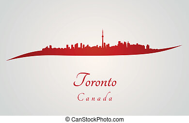 Toronto skyline in red and gray background in editable...