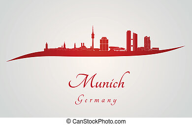 Munich skyline in red and gray background in editable vector...
