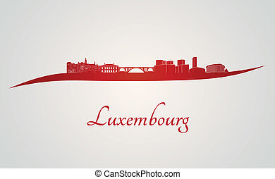 Luxembourg skyline in red and gray background in editable...