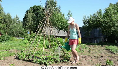 bean seedling tower - girl in the garden with a watering can...