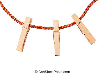 Clothespins - clothespins on rope