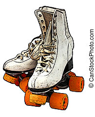 Roller Skates - Pair of white roller skates with orange...