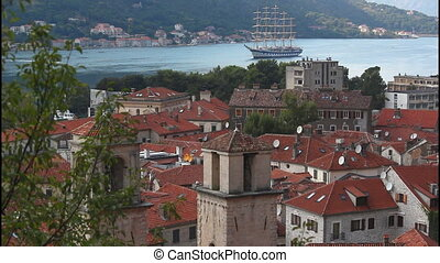 View of Kotor, roofs, pan right