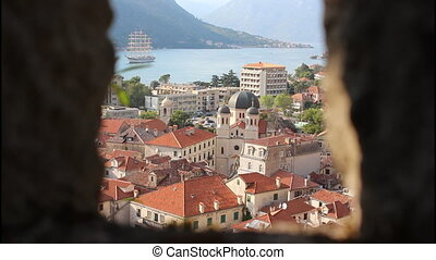 Panoramic view of Kotor, from the fort, ship
