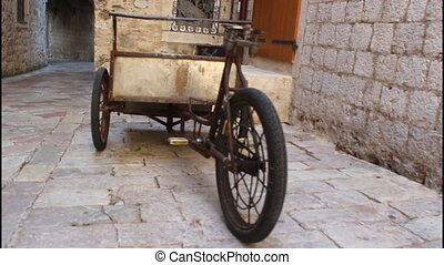 Old bicycle, carts - Old bicycle, transport carts, old town
