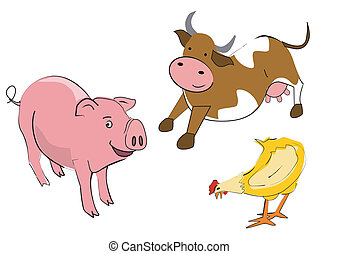 cow pullet pig - Illustrations of farm animals on the white...