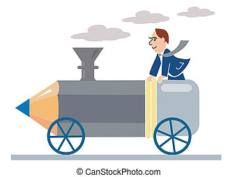 pencil_locomotive - Designer ridden by a pencil-locomotive,...