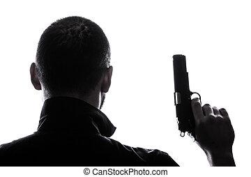 Uno, caucásico, hombre, tenencia, arma de fuego,...