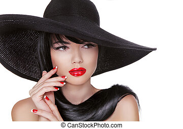 Glamour Fashion Brunette Woman Portrait in black hat isolated on White background. Makeup. Manicured nails.