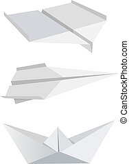 Origami aeroplanes boat - Illustration of folded paper...
