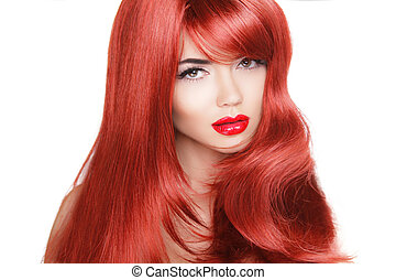 Hair. Beauty Fashion Model Woman with Long and Healthy Red Hair. Beauty Brunette Girl isolated on white background.