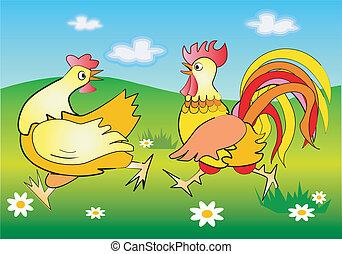 Running cockerel and pullet - Vector illustration of running...