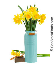bouquet of daffodils flowers in blue vase isolated on white...