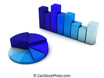 Bars Graph and circle - 3d Bars Graph and circle in blue