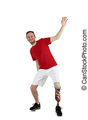 Male prosthesis wearer demonstrating balance - Male...