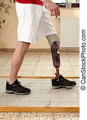 Prosthesis wearer training on diverse surfaces - Male...
