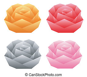 Origami roses - Illustration of folded paper models, four...
