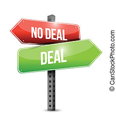 deal, no deal sign illustration design over a white...