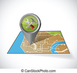 tools and map illustration design over a white background