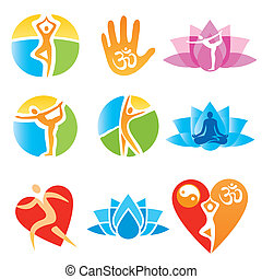 Icons_yoga_fitness - Set of yoga and fitness, colorful...