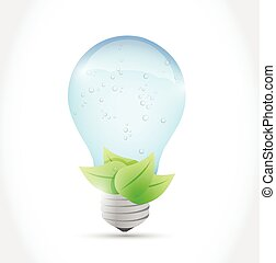 water light bulb and leaves illustration design over a white...
