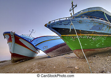 Confiscated clandestine boats - Abandoned clandestine boats...