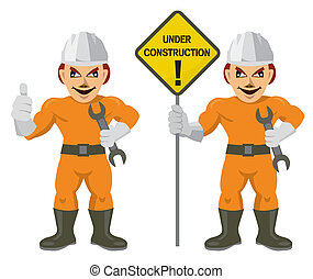 Construction worker superman - Construction workers with...