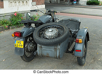 motor with sidecar - antique Ural motor with sidecar in...