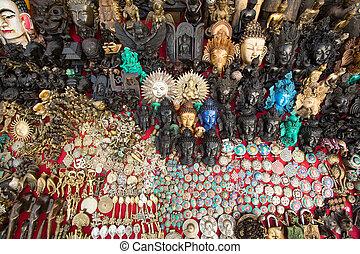 Souvenir's street shop in Kathmandu, Nepal.