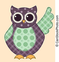 Application owl 1 - Application owl. Cartoon patchwork...