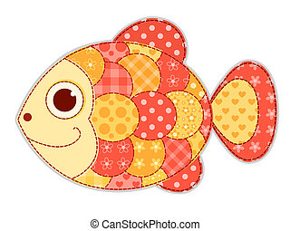 Application fish isolated. Children vector illustration.