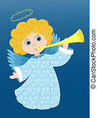 Christmas angel plays - Christmas angel in the blue. Cartoon...