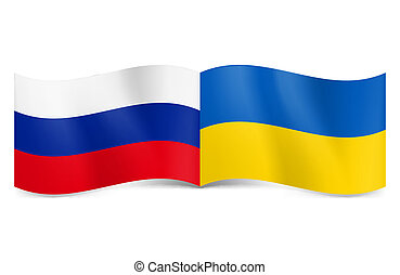 Union of Russia and Ukraine. - Russian and Ukrainian flags...