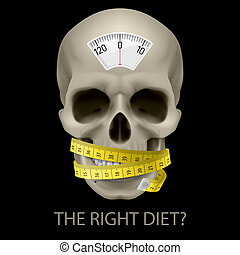 Unhealthy diet. - Skull with balance scale, measuring tape...