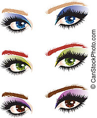 Eye make up - Set of female eyes of different colors with...